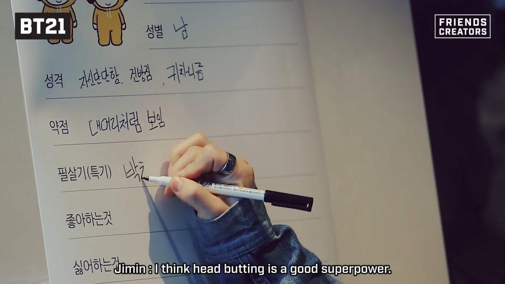 Chaque membre doit écrire les caractéristiques et super pouvoirs de son personnage