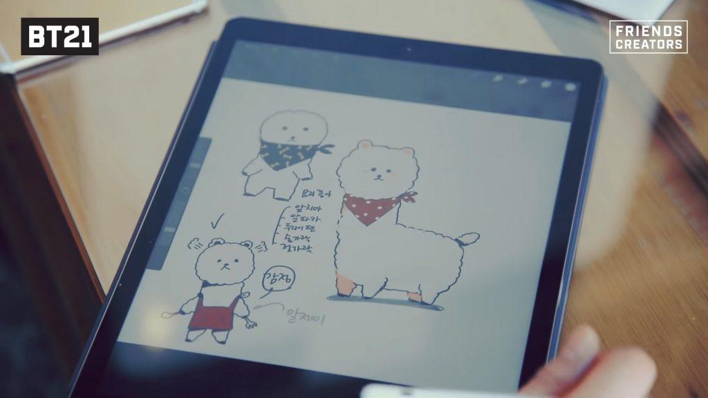 Résultat du dessin sur tablette de l'alpaga RJ de JIN