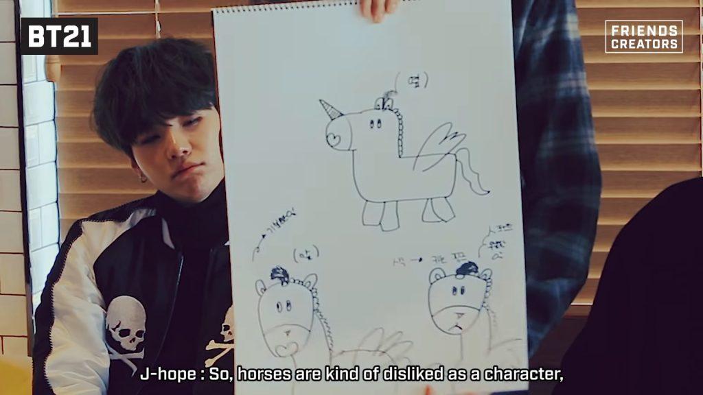 J-hope présente MANG son personnage bt21 ressemblant à un cheval
