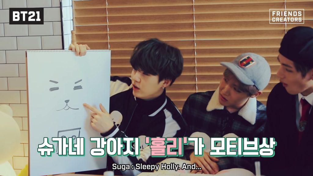 Suga présentant les premiers visuels du bt21 Shooky