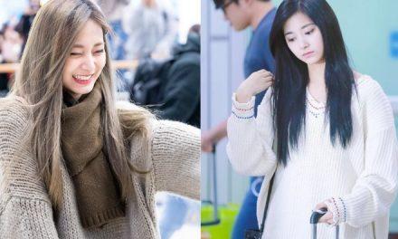 Цзую (Twice) в милых свитерах на фотографиях фанатов