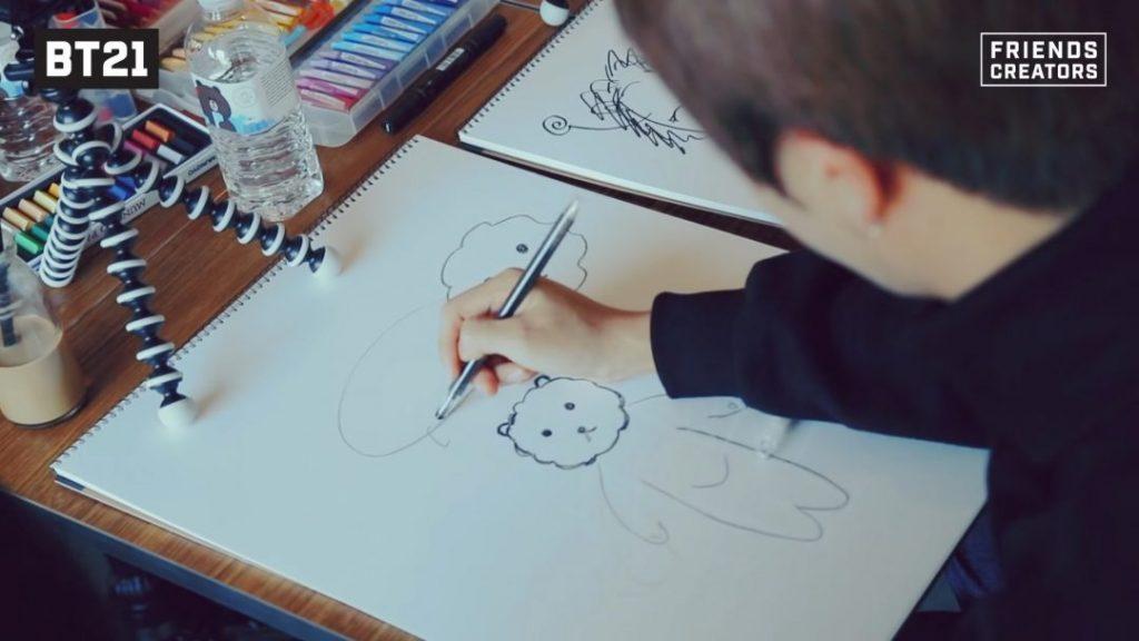 Jin creates his character alpaca photo bt21 bts