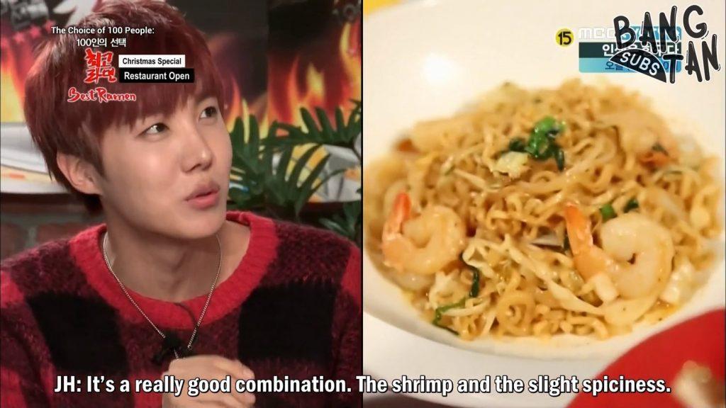 jhope bts kpop korean show 100 Choice, Best Ramyun hoseok