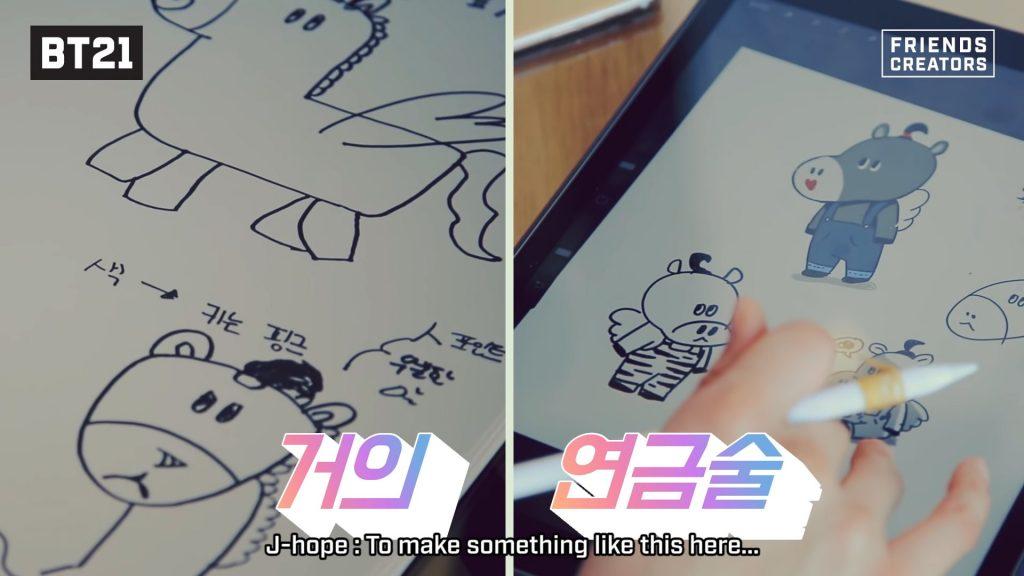 Convert Mang sketches made by J-Hope bt21 bts