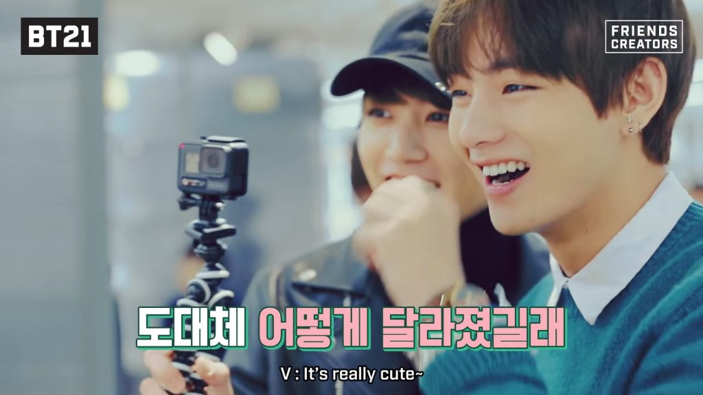 Taehyung thinks the result is cute bts smile bt21
